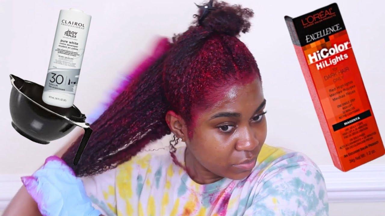 How I Dye My Natural Hair Burgundy With No Bleach Youtube