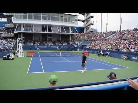 Novak Djokovic vs Adrian Mannarino    Cincinnati 2018 Day 4 1st Set 1st game  Court Level View