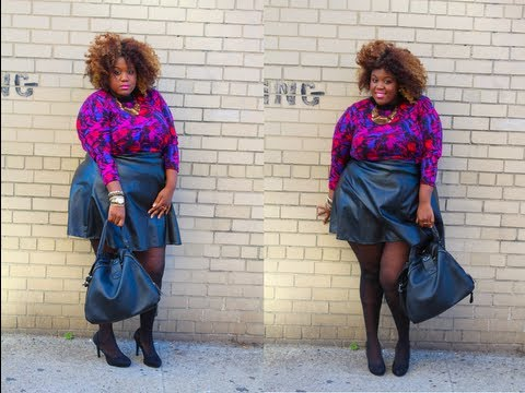 Plus Size Fall Look 2 The Leather Skater Skirt Youtube