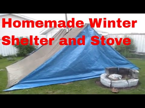 Homemade Winter Shelter and Stove (backyard test) & Homemade Winter Shelter and Stove (backyard test) - YouTube