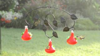 Mobile Hummingbird Feeder With Leaf Design And Mouth-blown Glass - Plow & Hearth