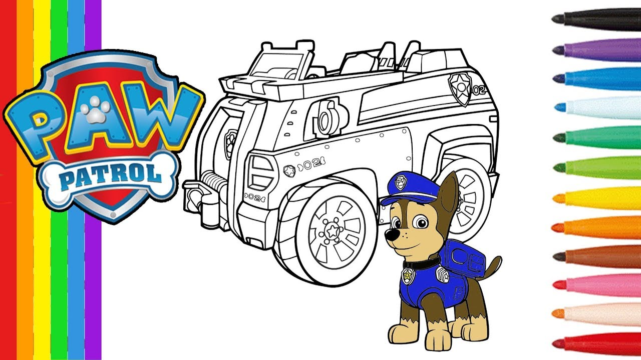 pat patrouille coloriage de chase et sa voiture paw patrol coloring pages chase vehicule youtube. Black Bedroom Furniture Sets. Home Design Ideas