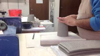 hand building mugs with slabs