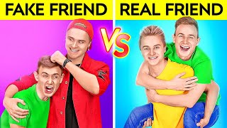 REAL FRIENDS VS FAKE FRIENDS || Awesome Prank Ideas And Funny Relatable Situations By 123 GO!