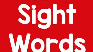Sight Word List 1 Kindergarten Shell Lake