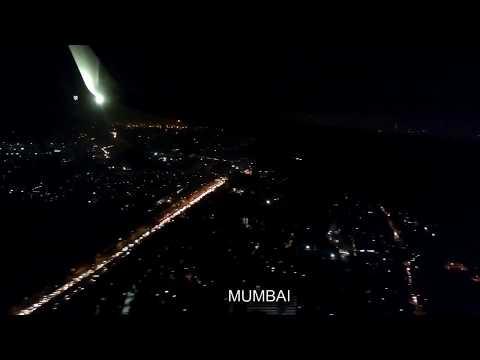 Night Landing at Mumbai International Airport   Mumbai Night View from Plane
