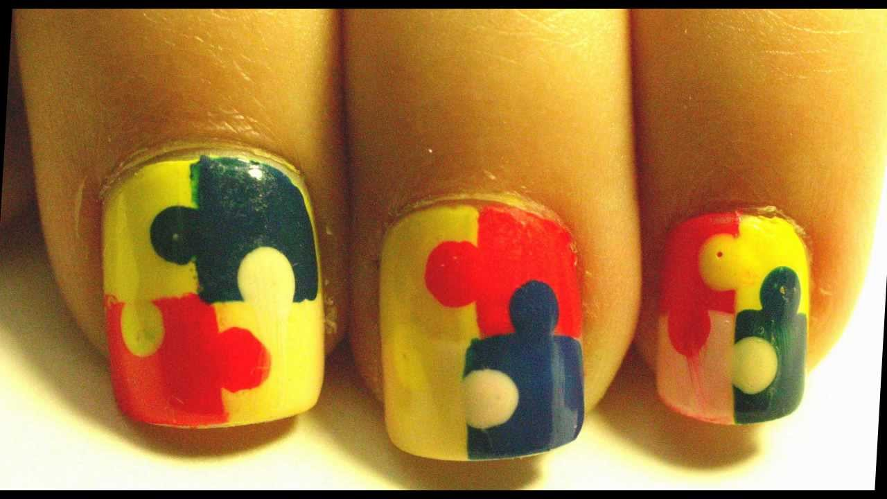 Easy puzzle nail art tutorial youtube prinsesfo Image collections