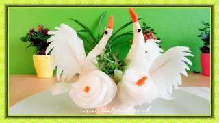 Hướng dẫn cách tỉa Thiên nga từ củ cải-Carving Swan