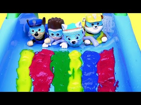 Thumbnail: Paw Patrol Bathtime Paint Slide Underwater Swimming Pool Party LEARN COLORS Bath Paint Disney