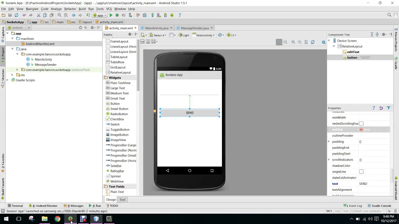 Send data from PC to Android using TCP Sockets Client Server in Android  Studio PART 2