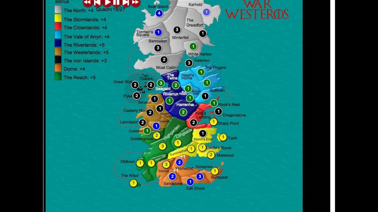 Jogo War No Mapa Westeros Game Of Thrones Youtube