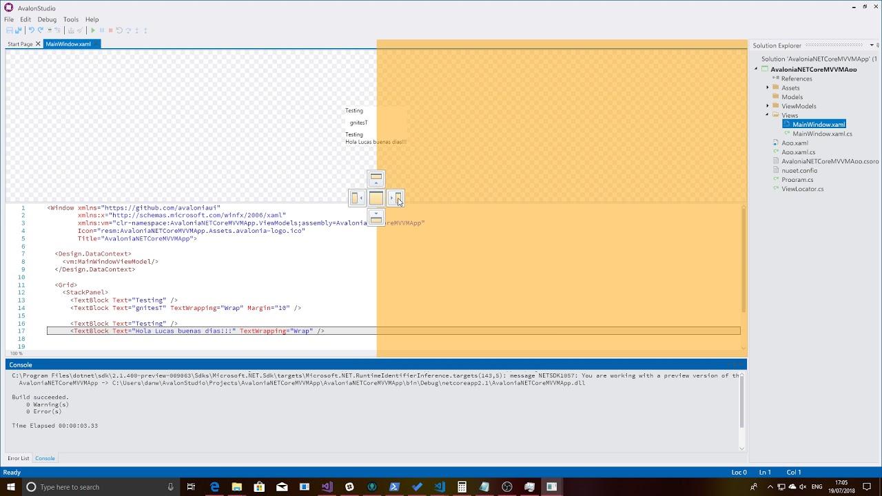 Preview of AvalonStudio - Avalonia Xaml Editor - To make Lucas Life Easier