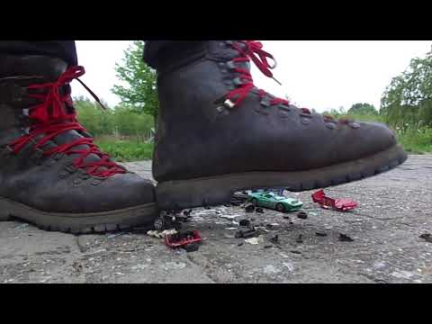 Gronell Hiking boots stomp and destroy toy model car lot