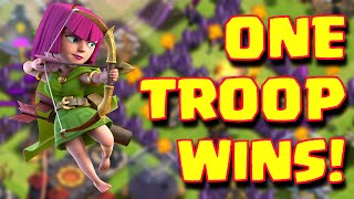 Clash Of Clans One Troop Wins The Attack | One Troop Heroics Wins The Raid