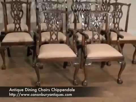 Antique Dining Chairs Chippendale - Antique Dining Chairs Chippendale - YouTube