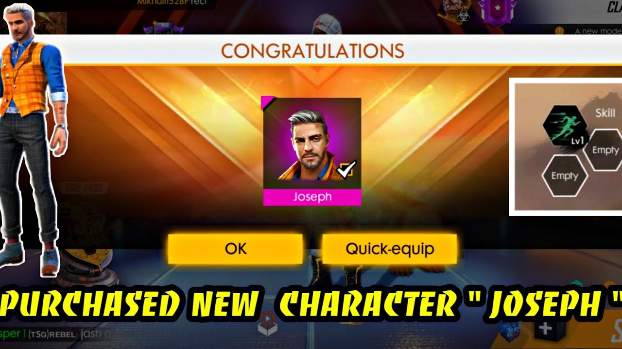 Purchasing New Character Joseph New Ability Best Live