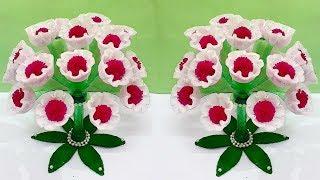 Guldasta from Plastic Bottle & sponge Foam flower | Best out of waste-Foam flower Guldasta