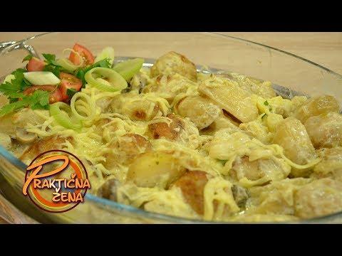 Praktična žena - Pileće ćuftice u sosu od sira i praziluka sa mladim krompirićima