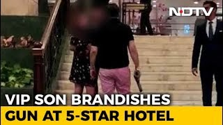 Watch: Former BSP Lawmaker's Son Waves Gun Outside 5-Star Hotel In Delhi
