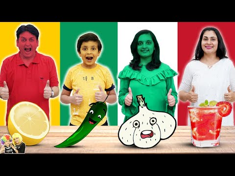 1 COLOUR FOOD EATING Challenge | Red Green White Yellow food