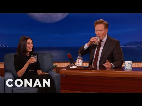Mila Kunis & Conan Chew On Bourbon   CONAN on TBS