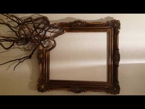 Antique wood picture frame wall decoration. Tree root decor.
