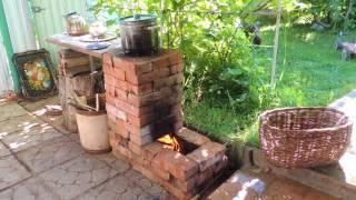 Ракетная уличная печь из кирпича.  Rocket Stove Ideas 54 - Brick Box Rocket Stove