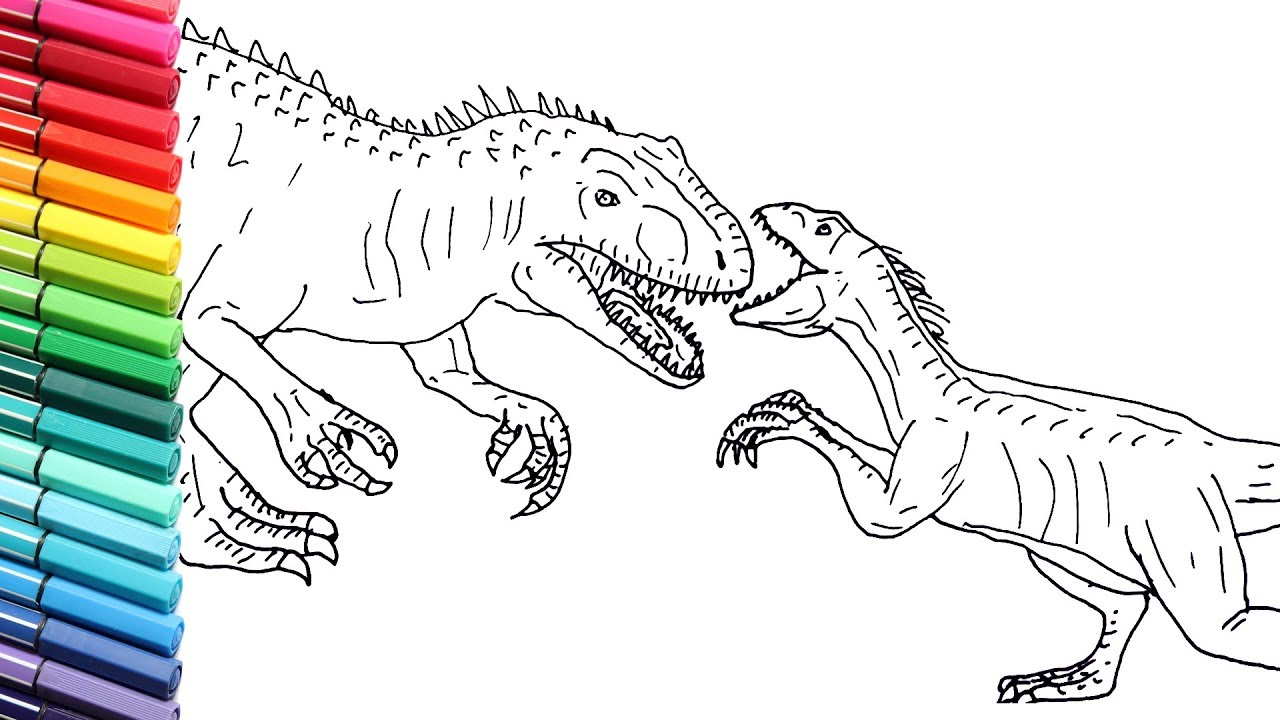 how to draw indoraptor vs indominus rex jurassic world dinosaurs color pages dinosaurs battle youtube how to draw indoraptor vs indominus rex jurassic world dinosaurs color pages dinosaurs battle