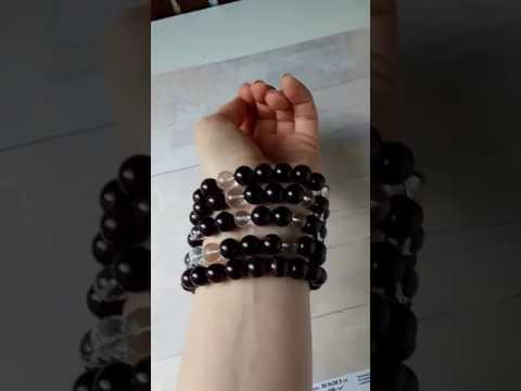 Набор браслетов из натуральных камней граната и горного хрусталч
