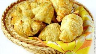 Рецепты выпечки  Круассаны с сыром и ветчиной