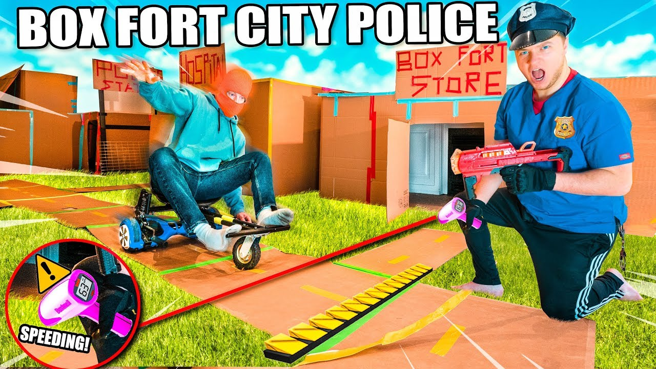 Box Fort Police Challenge Stopping Crime With Police Gadgets - 24 Hour Box Fort City Challenge Day 1