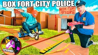 Box Fort Police Challenge Stopping Crime With Police Gadgets  24 Hour Box Fort City Challenge Day 1