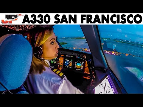Piloting AIRBUS A330 out of San Francisco | Cockpit Views - Just Planes