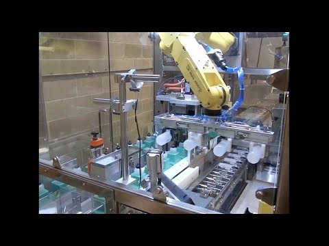 Robotic Cosmetics Bottle Handling System with FANUC LR Mate Robot - Farason Corporation