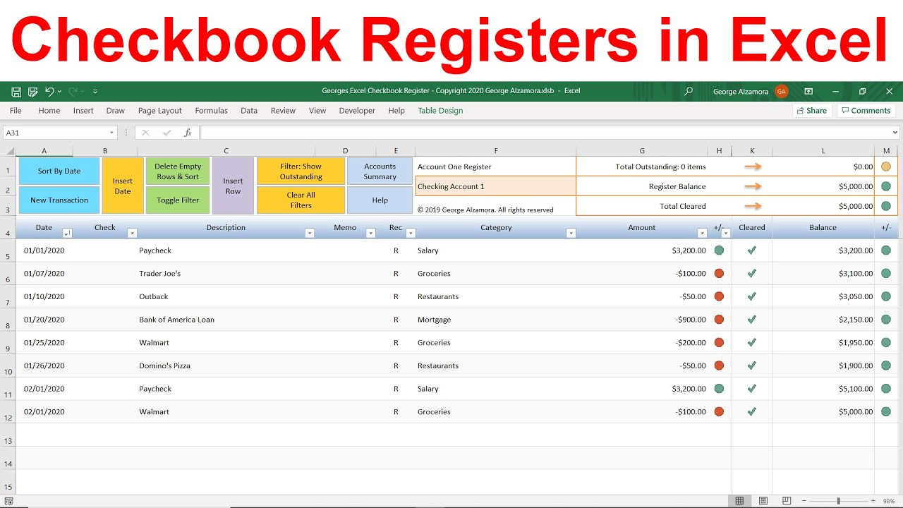 Checkbook App Balance Reconcile Bank Account In Excel Registers Spreadsheet Template For Finances Youtube