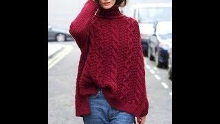 Пуловер с Косой, Вязаный Спицами - 2019 / Pullover with a scythe knitting needles