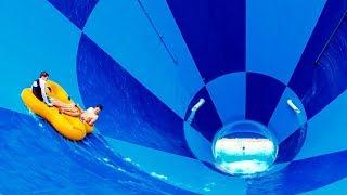 """Raging Waves - Tornado Water Slide """"Boomerang"""" Giant Funnel Slide 4K POV"""