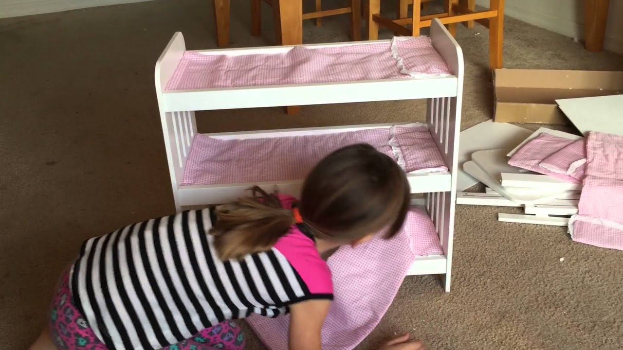 American Girl Doll Triple Bunk Beds Badger Basket Youtube