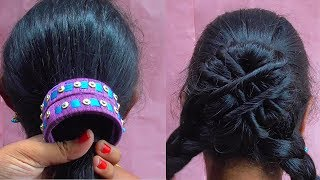 Messy Bun Hairstyle How To Do Bangles Hairstyle With Bangle For Long Hair Cute Hairstyles For Girls