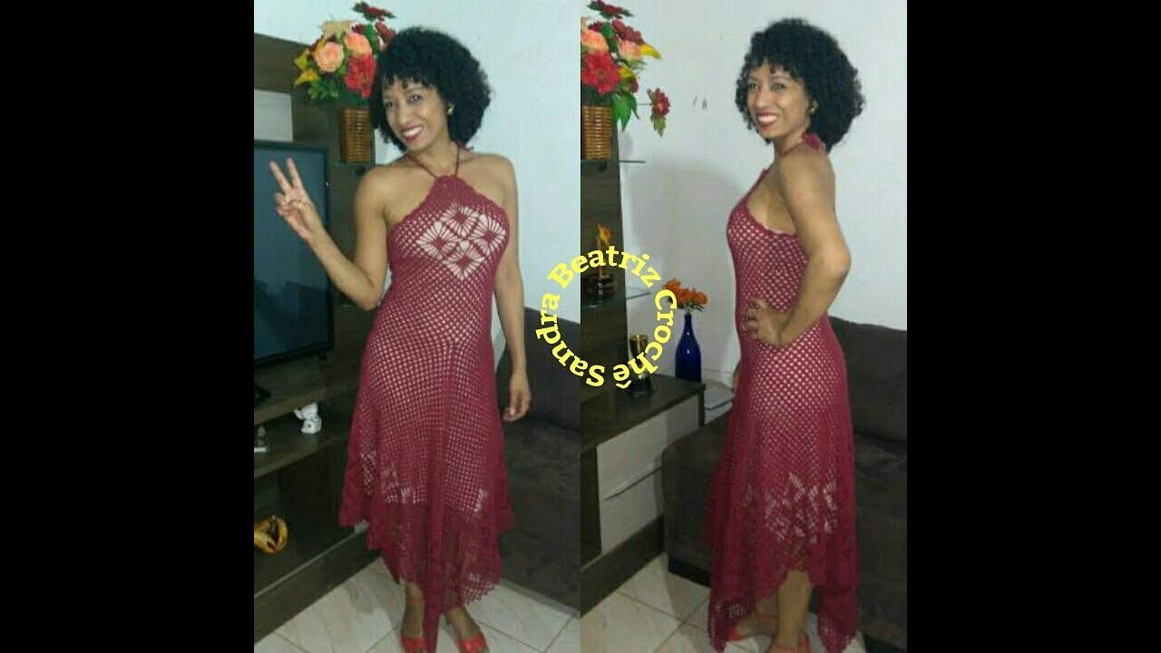 1aeefc377 Vestido de Crochê Festa 1ª Parte Tamanho P,M,G e GG - YouTube