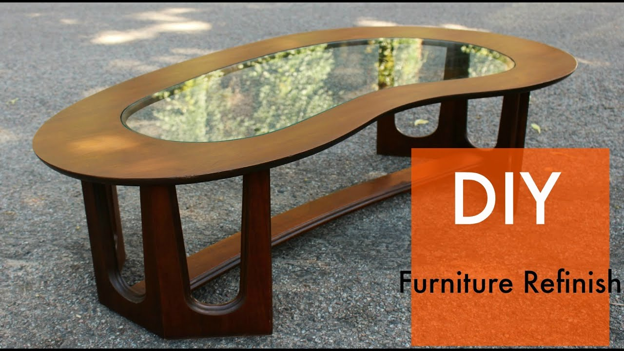 mid century coffee table refinish veneer repair general finishes gel stain - Refinish Table