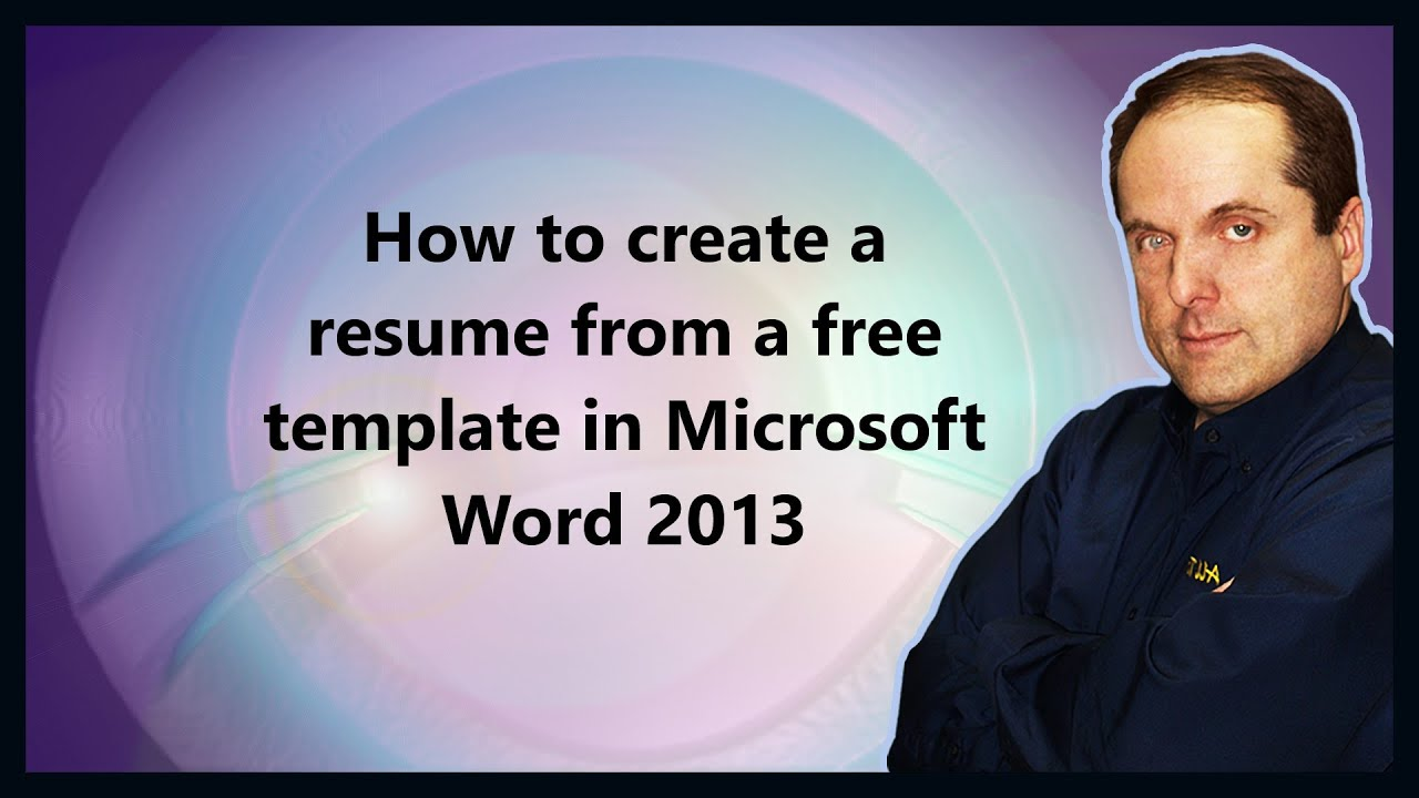 how to create a resume from a free template in microsoft word 2013 youtube. Resume Example. Resume CV Cover Letter