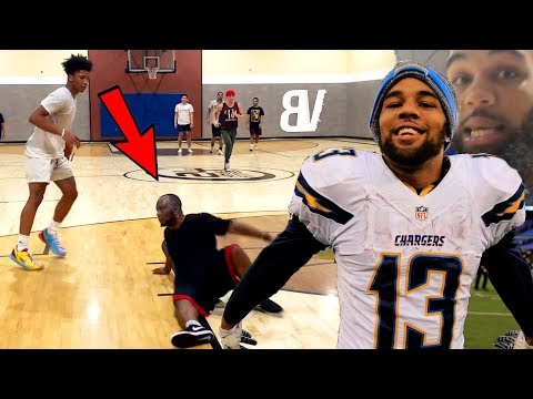 Mikey Williams Plays Pickup W/ Chargers BEAST WR Keenan Allen! (ANKLES OR SLIPPERY FLOOR?🤔)
