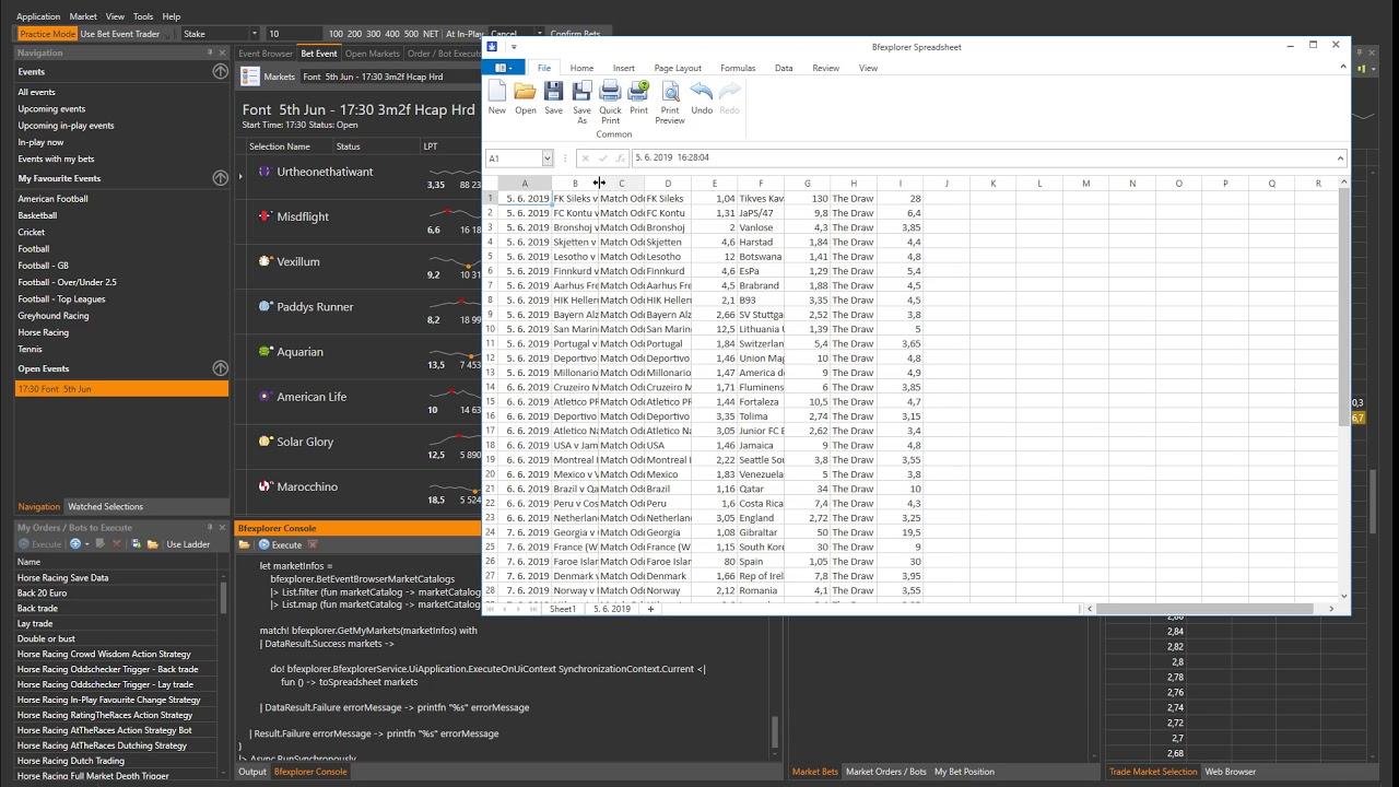 Bfexplorer | Betfair Data to Spreadsheet - Any advice would