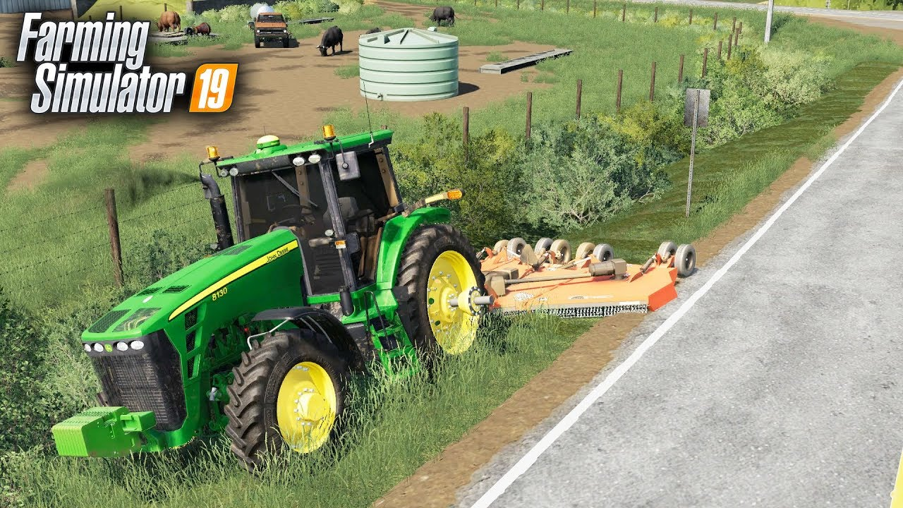 FS19- MOWING STEEP DITCHES WITH BIG BATWING MOWER (RHINO 4155) - The
