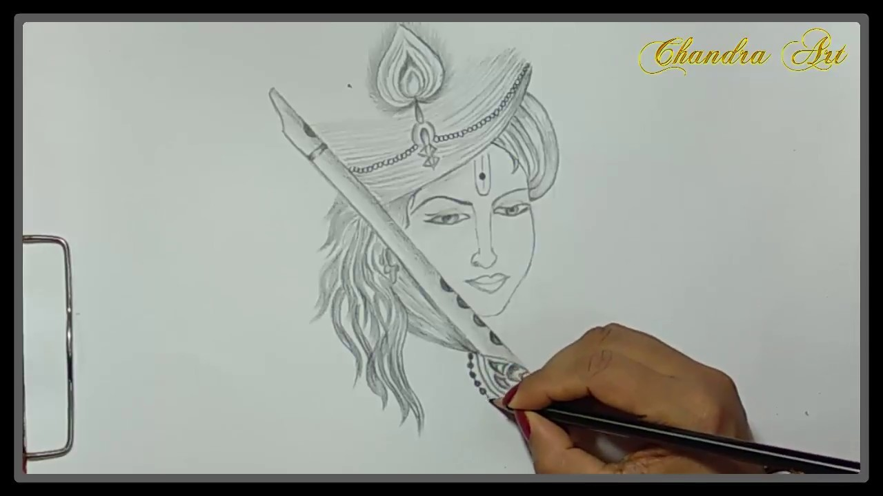 Drawing a girl looks like lord sri krishna with pencils