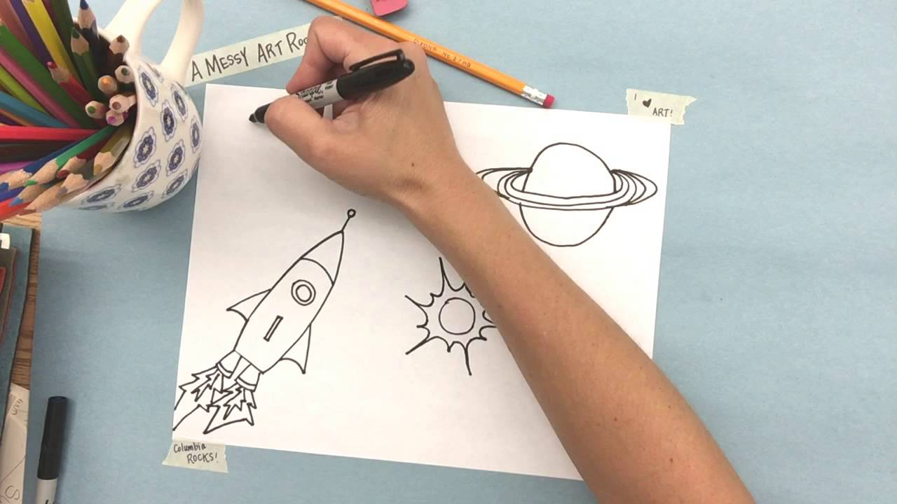 A Messy Art Room How To Draw A Simple Space Themed Picture Youtube