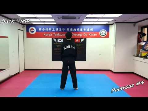 Taekwondo - Poomsae 4 (Sa Jang) Slow-motion & Mirror