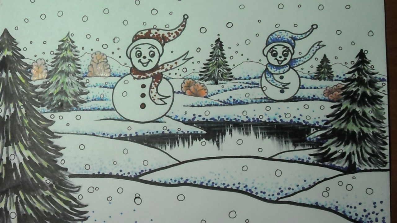 Como dibujar un paisaje navide o con mu ecos de nieve y - Paisajes nevados para pintar ...