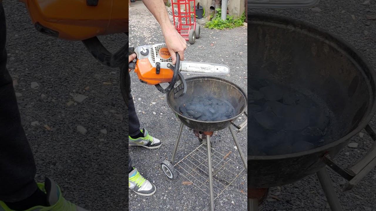 Profesjonalne rozpalanie grilla pilarką STIHL MS 211 ;-)